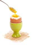Light boiled egg in egg cup Stock Photo