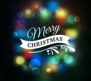 Light Bokeh Christmas Background With Typography, Lettering Royalty Free Stock Image