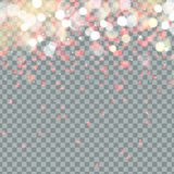 Light bokeh and Heart of Valentines petals falling on transparent background. Flower petal in shape of heart confetti Royalty Free Stock Images