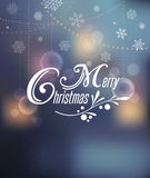 Light Bokeh, Merry Christmas Background With Typography Royalty Free Stock Images