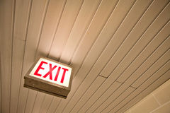 Light box exit sign. On ceiling Royalty Free Stock Photography
