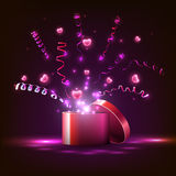 Light box and pink  hearts,  streamers, gift for the holiday. Stock Image
