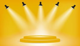 Light box with presentation platform on yellow backdrop with five spotlights. Royalty Free Stock Photos