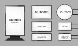Light boxes. Retail lighting 3d billboards, retro cinema signs. Outdoor signage boards vector template stock illustration