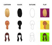 Light braid, fish tail and other types of hairstyles. Back hairstyle set collection icons in cartoon,black,outline,flat royalty free illustration
