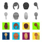 Light braid, fish tail and other types of hairstyles. Back hairstyle set collection icons in monochrome,flat style royalty free illustration