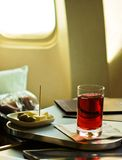 Light breakfast. On board of air plane Royalty Free Stock Photos