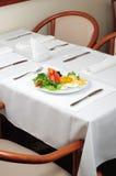 Light breakfast. Light healthy breakfast served on white tablecloth Stock Photo