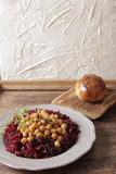 Light breakfast of beets and chickpeas. A light breakfast of beets and chickpeas along with bread royalty free stock photo