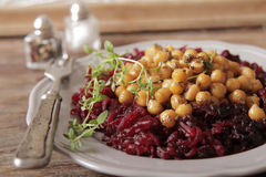 Light breakfast of beets and chickpeas. A light breakfast of beets and chickpeas along with bread stock photography
