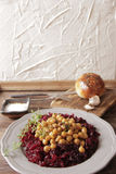 Light breakfast of beets and chickpeas. A light breakfast of beets and chickpeas along with bread royalty free stock photos