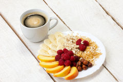 Light breakfast with coffee Stock Photos