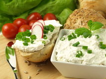 Light breakfast with cottage cheese and vegetables Stock Image