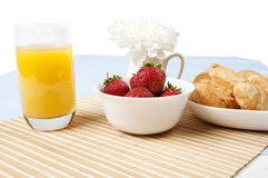 Light Breakfast flower and Berries on a table Royalty Free Stock Photos