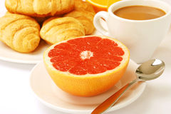 A light breakfast with a grapefruit Stock Images