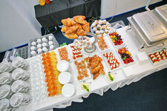 Light breakfast at the hotel. Catering service. Breakfast option for small conferences, meetings. Nutritionally complete breakfast includes juice, tea, coffee royalty free stock image