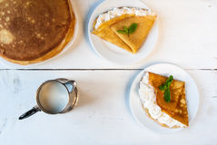 A light breakfast or lunch for two, with pancakes Royalty Free Stock Photos