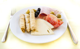 Light breakfast in mediterranean resort Royalty Free Stock Images