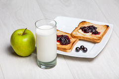 Light breakfast - milk and toasts with jam Royalty Free Stock Photos