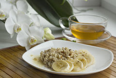 A light breakfast with oatmeal Royalty Free Stock Images