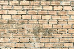 Light brick wall. Horizontal wide brickwall background. Distressed wall with broken bricks texture. royalty free stock photography