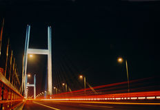 Light bridge. Night lights Royalty Free Stock Images
