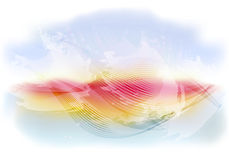 Light and bright abstract sky background with flying clouds, waves at sunset. EPS10 vector illustration Stock Images