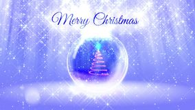 Light bright composition for merry Christmas with 3d Christmas tree from glitter particles and sparkles in snowglobe or. Snowball. With rays such as aurora stock video footage