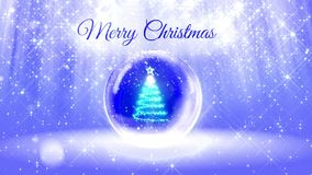 Light bright composition for merry Christmas with 3d Christmas tree from glitter particles and sparkles in snowglobe or. Snowball. With rays such as aurora stock footage
