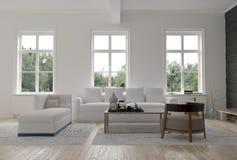 Light bright modern living room interior Royalty Free Stock Photos