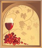 A glass with red wine and a bunch of grapes on a light brown background stock illustration