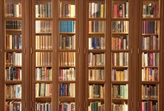 Light brown bookcase with books in Amsterdam stock image