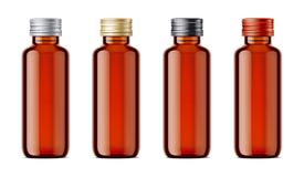 Blank bottles mockups for syrup or other pharmaceutical liquids. Royalty Free Stock Images