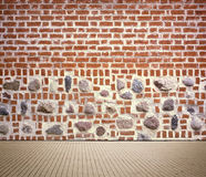 Light brown brick wall texture with sidewalk Royalty Free Stock Image