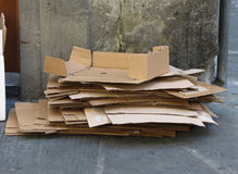 Light brown corrugated cardboards Stock Photo
