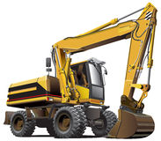 Light-brown excavator. Detailed vectorial image of light-brown wheeled excavator, isolated on white background. File contains gradients, not blends and strokes Stock Image