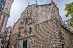 Light brown facade of church Mare de Deu Betlem in Barcelona, Spain Stock Photos