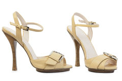 Light brown high -heeled shoes stock photo