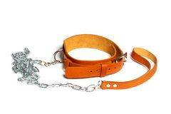 Light brown leather fetish collar. With leash isolated on white background stock photography