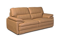 Light brown leather sofa Stock Photo