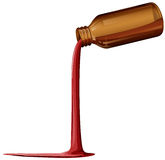 A light brown medical bottle with spilled syrup Stock Photo