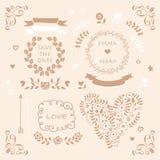 Light brown vector wedding invitation design element set Royalty Free Stock Images