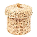 Light brown wicker basket with closed lid Stock Image