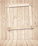 Light brown wooden planks, floors and frame attached to the wall Stock Photo