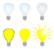 Light bulb. Set of light bulbs on white background. Illustration of light bulbs Stock Photos