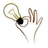 Light bulb. Hand picking up a light bulb Stock Photography