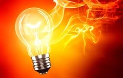 Light bulb. Incandescent light bulb on red background Stock Image