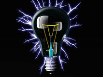 The light bulb. Incandescent light bulb and electric arc Stock Photos