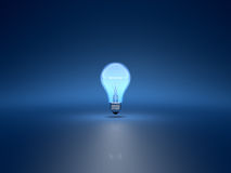 Light bulb. 3d render of light bulb on blue background Royalty Free Stock Photography