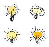 Light bulb. Set, hand draw illustration Stock Photos